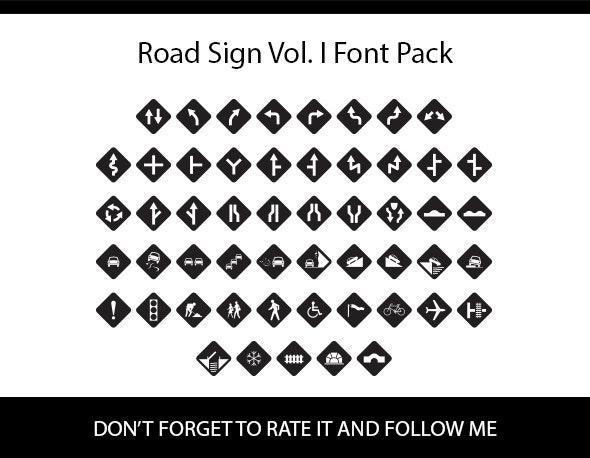 Road Sign Vol. I Font Pack - Ding-bats Fonts