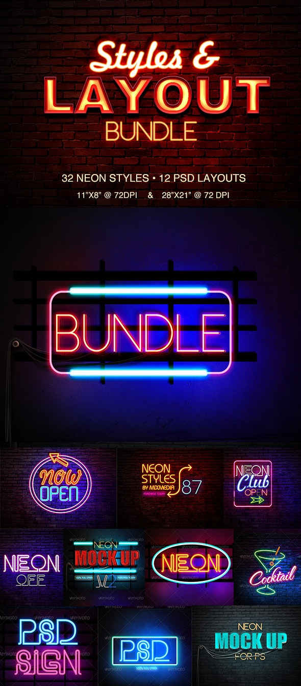 Neon Styles Bundle - Text Effects Actions