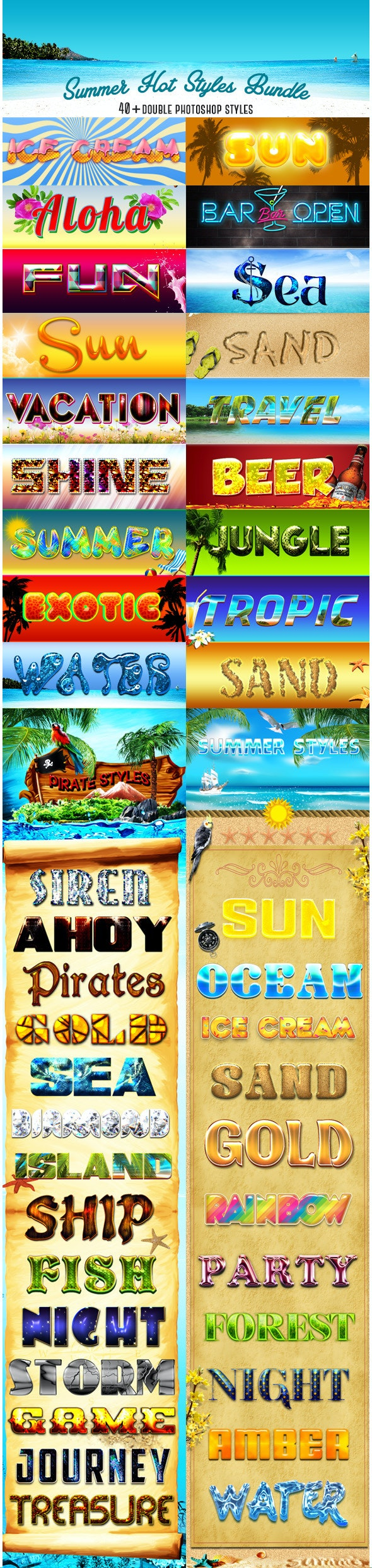 Summer Hot Styles Bundle - Text Effects Styles