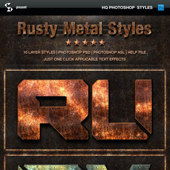 Rust Metal Styles - Grunge Metals Text Effects