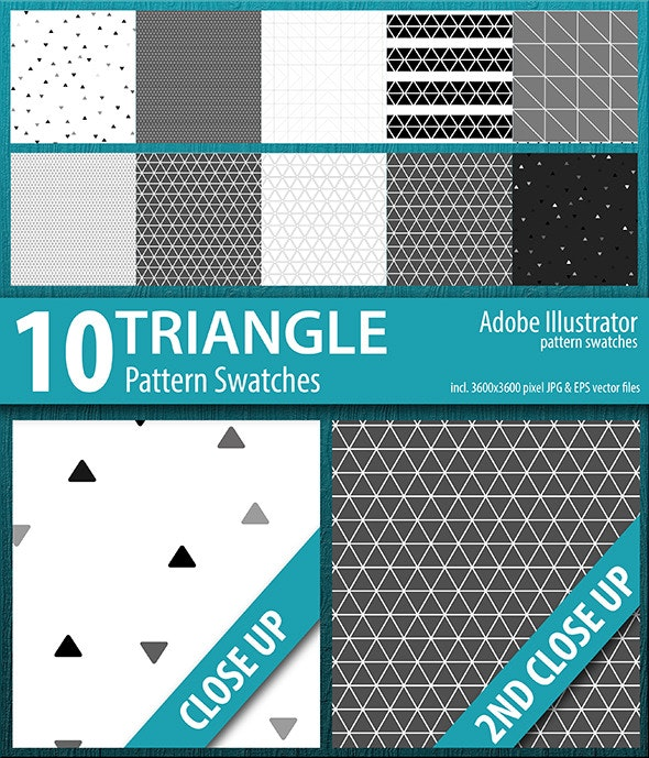 10 Triangle Seamless Pattern Swatches Vector - Urban Textures / Fills / Patterns