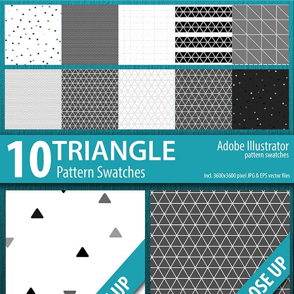 10 Triangle Seamless Pattern Swatches Vector