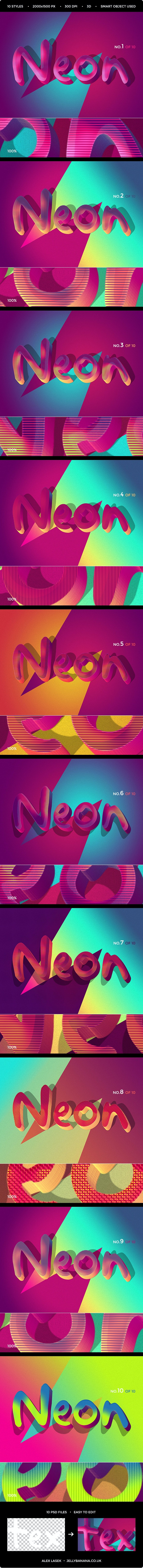 Retro Funky 3D Text Effects - 10PSD - Text Effects Styles