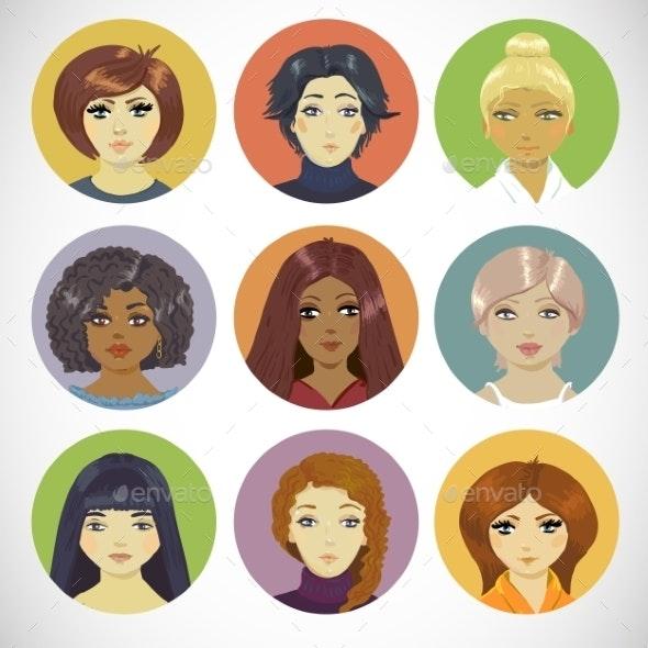 Set of Circle Female Icons - Patterns Decorative