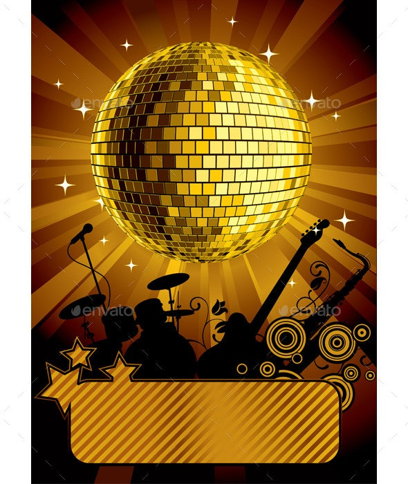 Gold Disco Ball - Backgrounds Decorative
