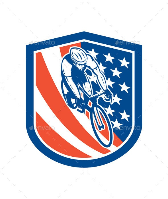 Bicycle Rider USA Flag  - People Characters