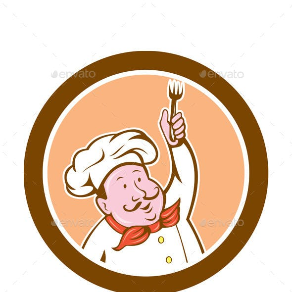 Chef Holding Fork Cartoon