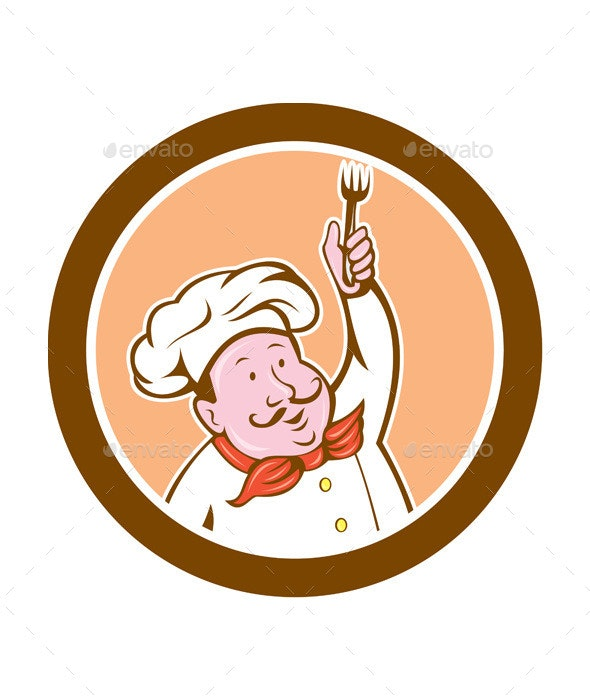 Chef Holding Fork Cartoon - People Characters