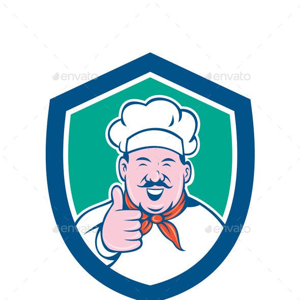 Chef Happy Thumbs Up Shield Cartoon