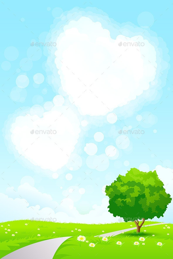 Green Landscape with  Tree and Heart Shape Clouds - Landscapes Nature