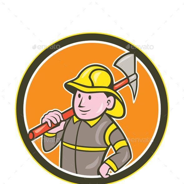 Firefighter Axe Circle Cartoon