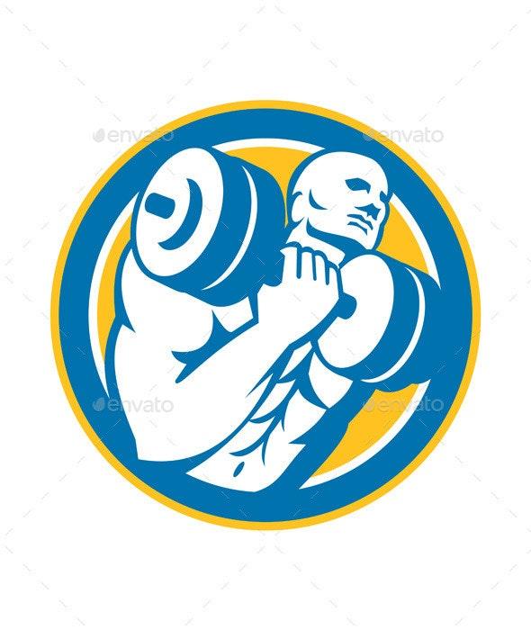 Bodybuilder Lifting Dumbbell Circle - Sports/Activity Conceptual