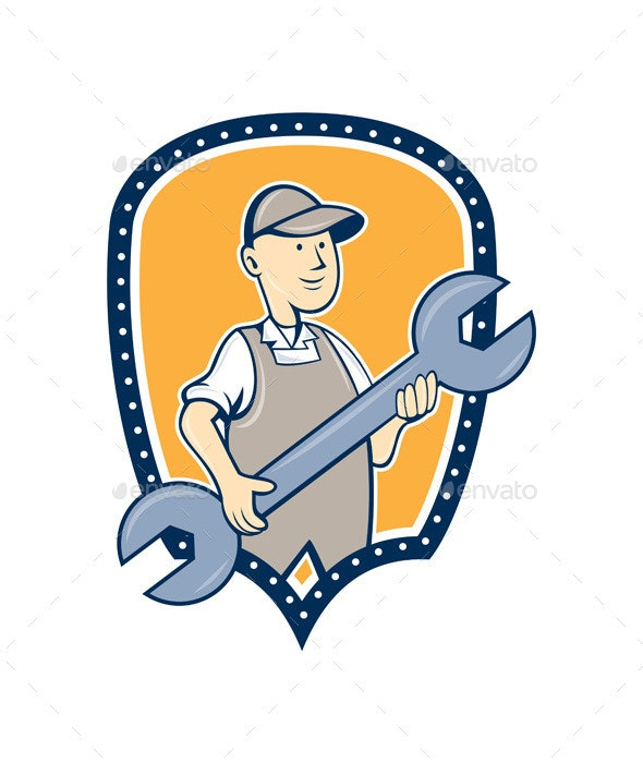 Mechanic Spanner Wrench Shield Cartoon - People Characters