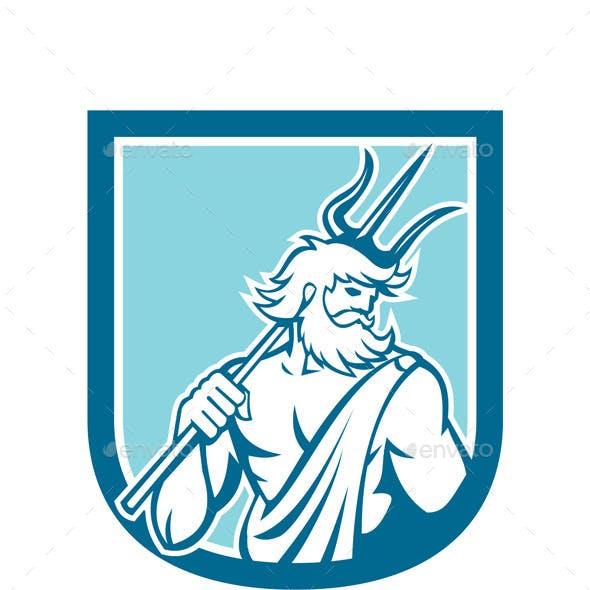 Neptune Poseidon Trident Shield Retro