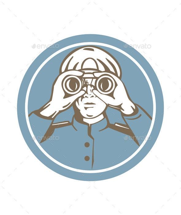 Ship Sea Captain Binoculars Circle Retro - People Characters