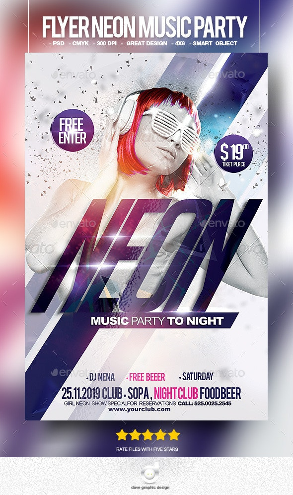 Flyer Neon Music Party - Clubs & Parties Events