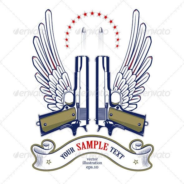 Gun Wing Emblem  - Decorative Symbols Decorative