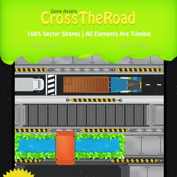 Cross The Road Frog Game Tileset & Sprite Sheet