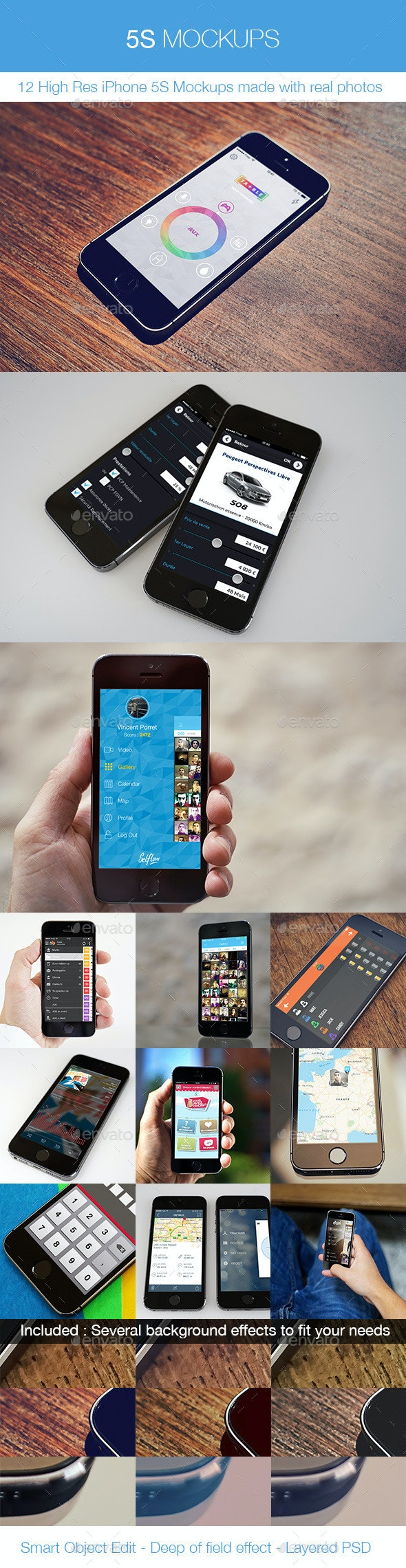 5S Mockups - 12 iPhone 5S Real Photos Mockups  - Mobile Displays