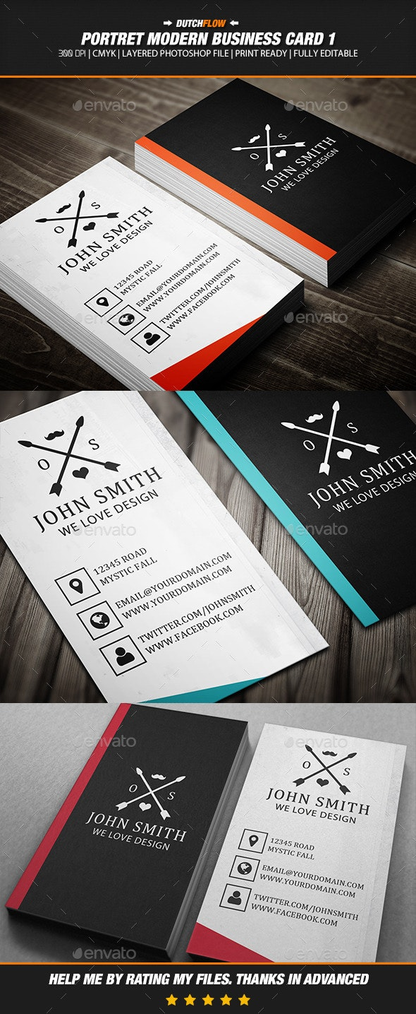 Portret Modern Business Card 1 - Creative Business Cards