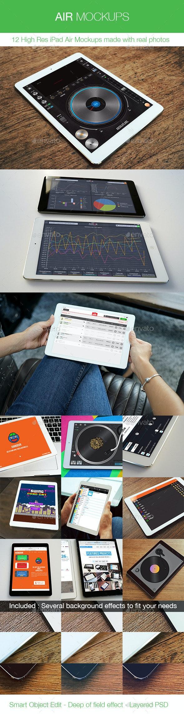 Air Mockups - 12 iPad Air Real Photos Mockups - Mobile Displays