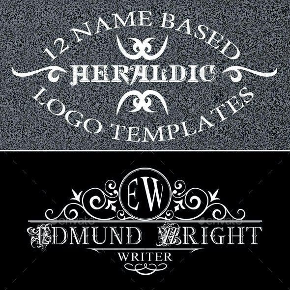 12 Name Based Heraldic Logo Templates