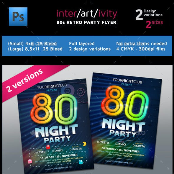 Eighties Party Night Club Flyer Template