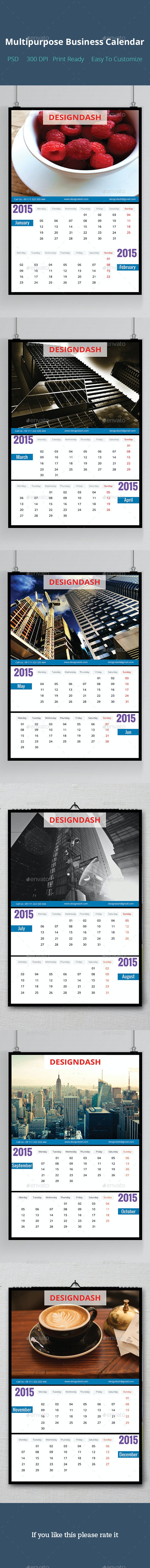 Multipurpose Business Calendar Design - Stationery Print Templates