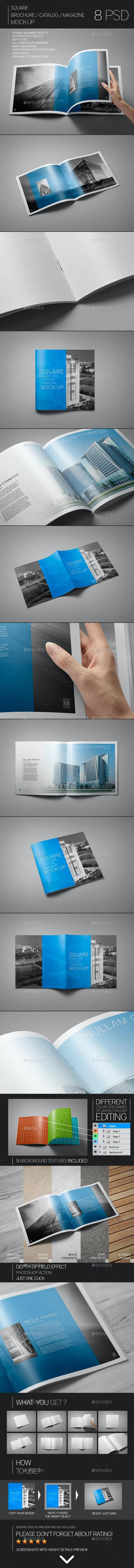 Square Brochure / Catalog / Magazine Mock-Up - Brochures Print