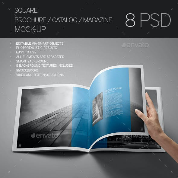 Square Brochure / Catalog / Magazine Mock-Up