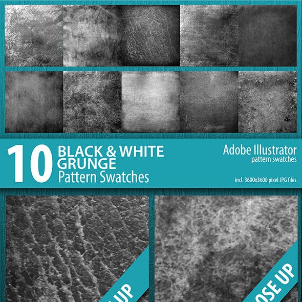 10 Black and White Grunge Texture Swatches Vector
