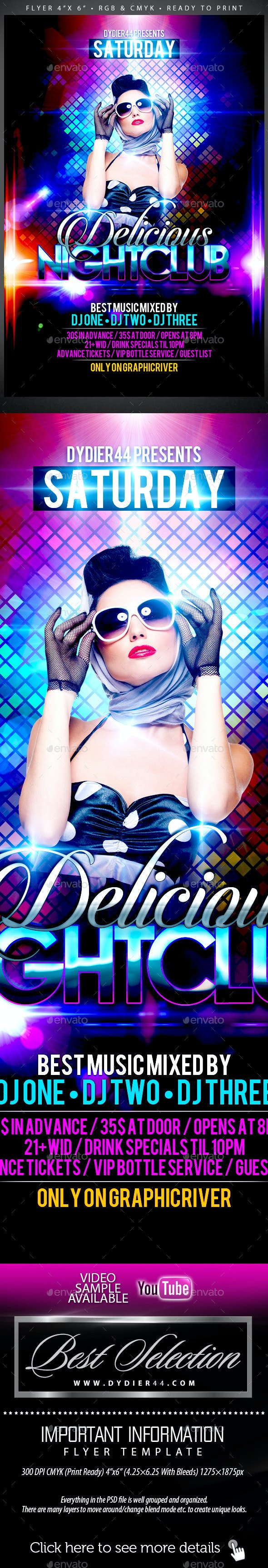 Delicious Nightclub (Flyer Template 4x6) - Clubs & Parties Events
