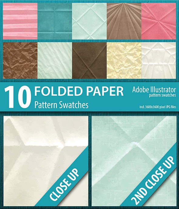 10 Folded Paper Texture Pattern Swatches - Abstract Textures / Fills / Patterns