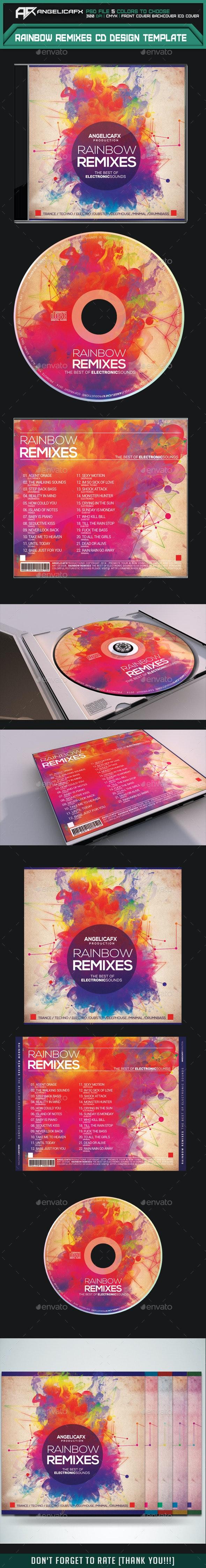 Rainbow Remixes CD Design Template - CD & DVD Artwork Print Templates