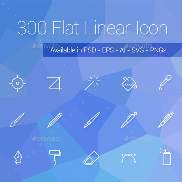 300 Flat Linear Icon Set