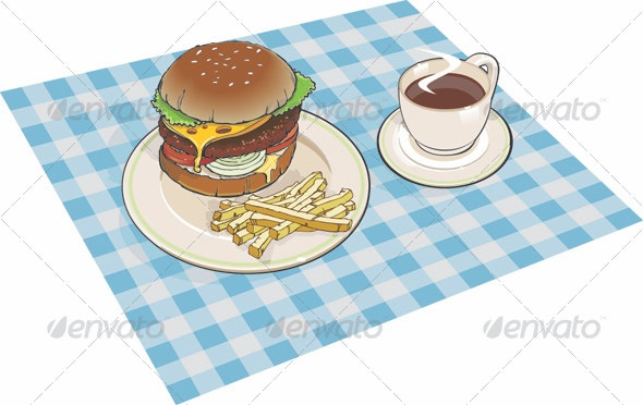 Hamburger Lunch - Food Objects