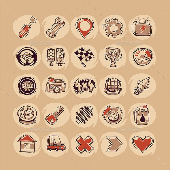 Retro Cars Icons Set - Man-made objects Objects