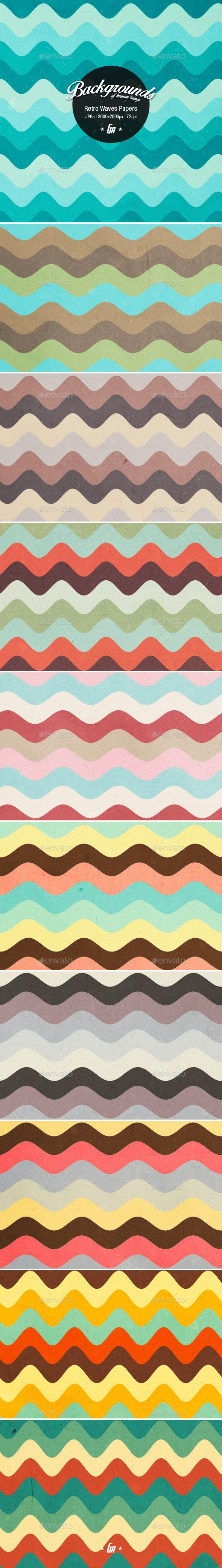 Retro Waves Paper Backgrounds - Patterns Backgrounds