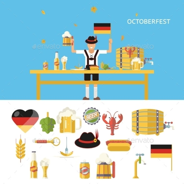 Retro Octoberfest Symbols Beer Alcohol Accessories - Miscellaneous Seasons/Holidays