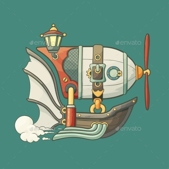 Cartoon Steampunk Flying Airship with Baloon - Travel Conceptual