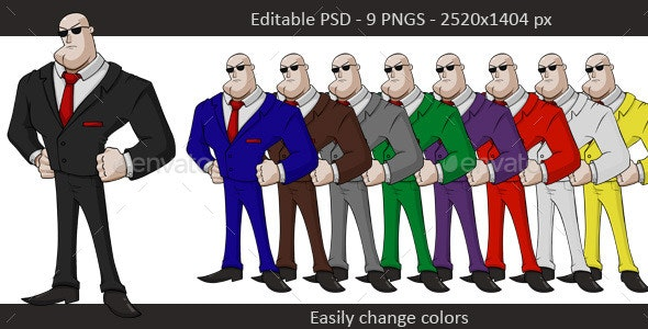 Bodyguard Layered PSD - Characters Illustrations