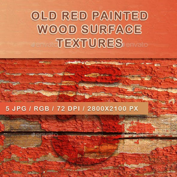 5 Old Red Painted Wood Textures