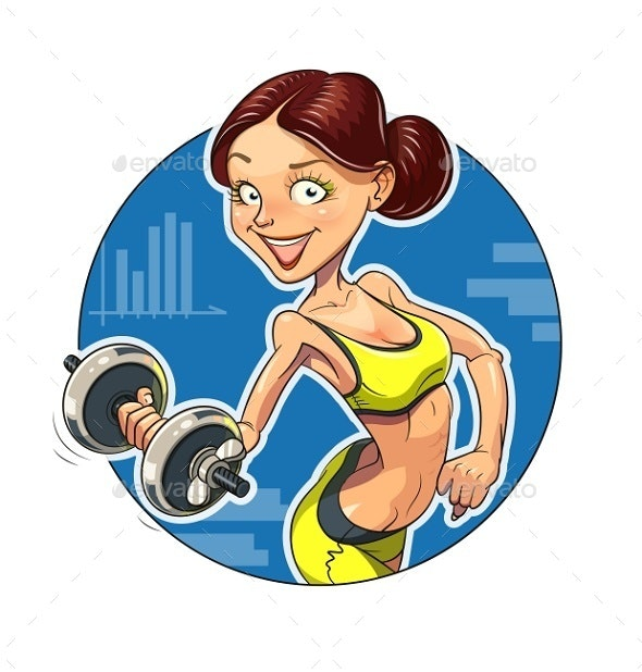 Fitness Sporting Girl with Dumbbells - People Characters