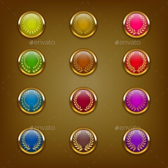Golden Laurel Wreaths - Decorative Symbols Decorative