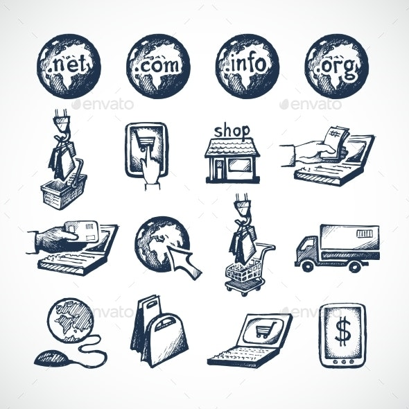 Online Shopping Icons Set - Retail Commercial / Shopping