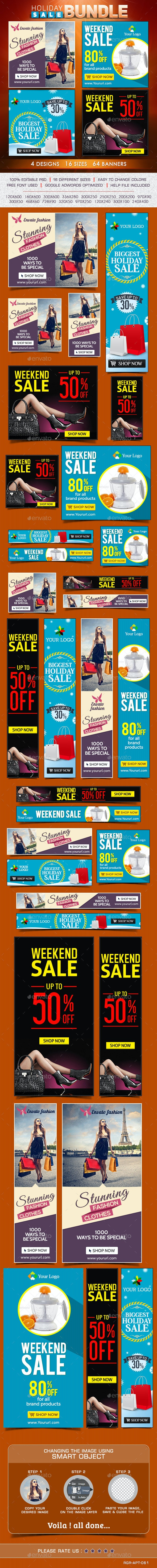 Special Sale Banner Bundle - 4 Sets - Banners & Ads Web Elements