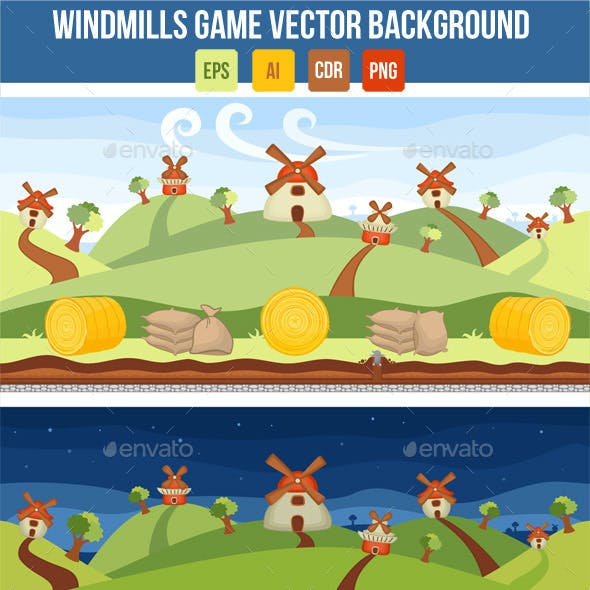 Windmills Vector Game Background