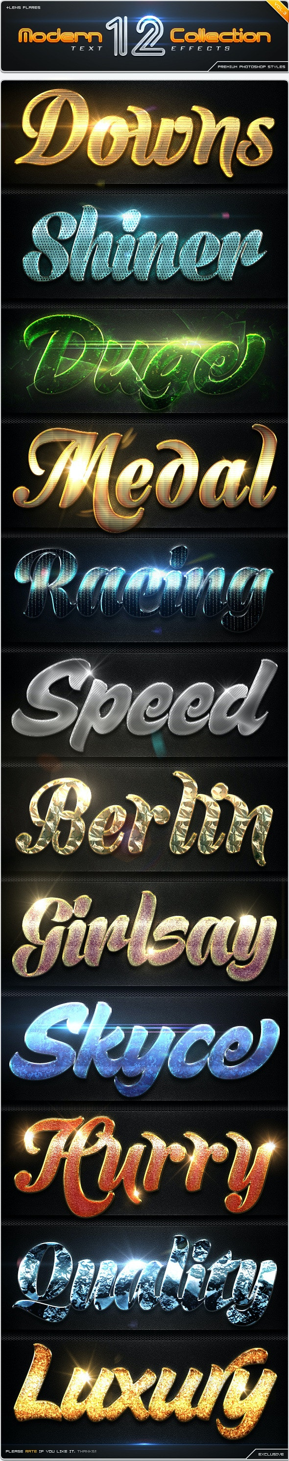 12 Modern Collection Text Effect Styles Vol.3 - Text Effects Styles