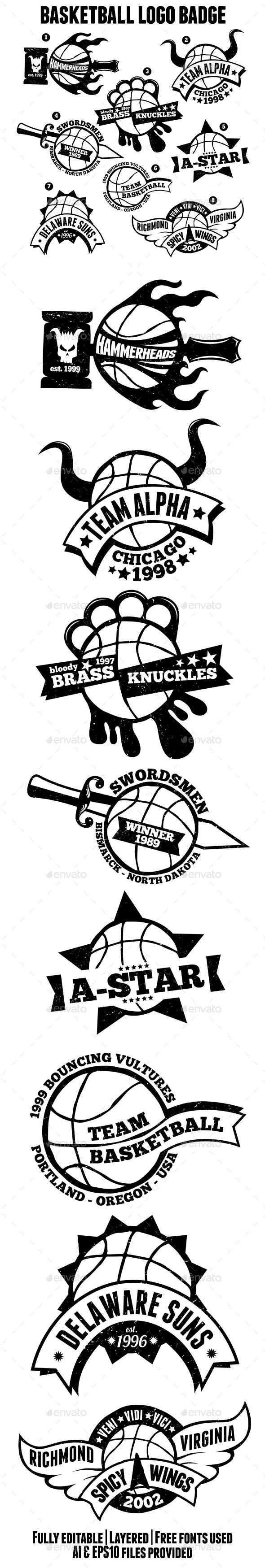 Basketball Logo Badges - Badges & Stickers Web Elements