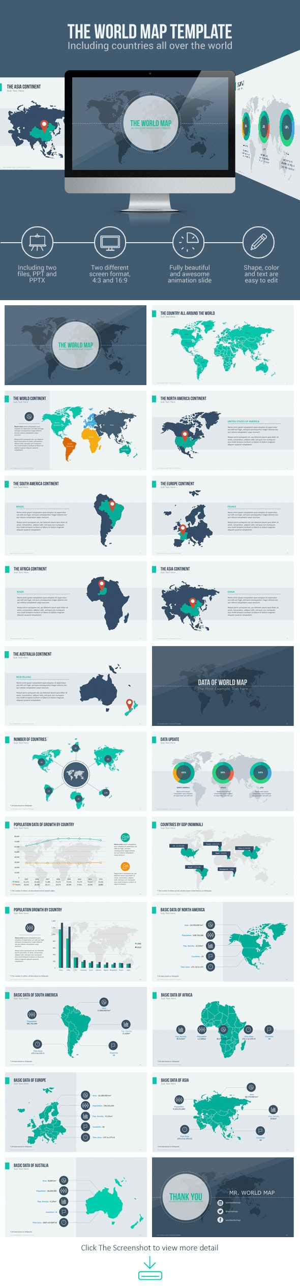 World Map with Animation - Creative PowerPoint Templates